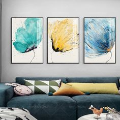 Botanical print flower yellow blue art Printable wall art Set of 3 art print on canvas Yxpainting framed painting Abstract floral print Three Canvas Painting, Flower Wall Art, Wall Art Sets, Modern Watercolor Art, Blue Art, Art Gallery Wall, Abstract, Abstract Flowers Print, Blue Abstract Painting