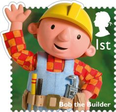 Royal Mail Class postage stamp from a 2014 series featuring Classic British Children's TV programs - this stamp is of Bob The Builder