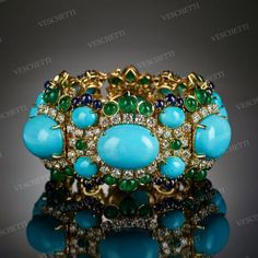 Bracelet set with turquoise, emeralds and sapphires AIDA