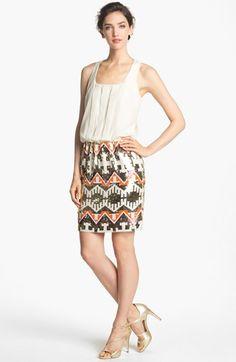 Jessica Simpson Racerback Blouson Sequin Skirt Dress