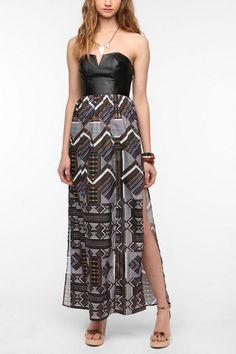 Ladakh Faux Leather Bodice Jigsaw Maxi Dress Urban Outfitters $128