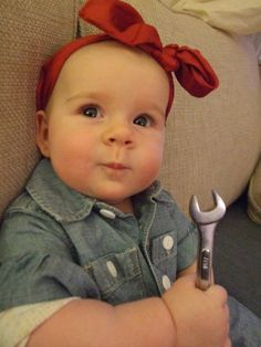 Rosie the Riveter baby Halloween costume by momma My sweet L's first costume. Home made diy