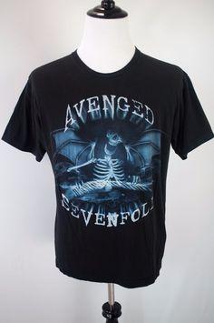 Avenged Sevenfold T-Shirt Adult Size L Black Short Sleeve 2010 Licensed #Bravado #GraphicTee