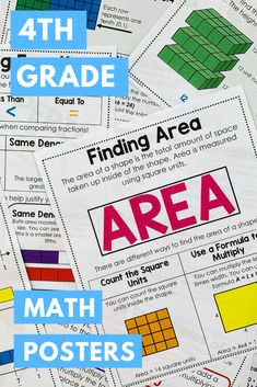 Grade Math Posters and Exit Tickets Bundle Teaching Tips, Teaching Math, Comparing Fractions, Math Poster, Exit Tickets, Math Concepts, 4th Grade Math, Upper Elementary, Interactive Notebooks