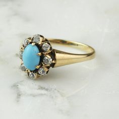 Victorian Turquoise and Diamond Halo Ring in by ArtifactVintage 1880