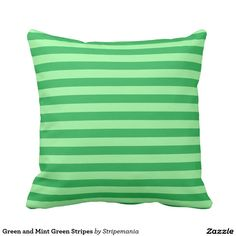 Green and Mint Green Stripes Throw Pillow