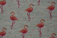 grau-melierter Jersey mit Flamingo 50 cm x 150 cm Nähen Stoff - Stofferia