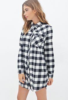 Plaid Flannel Shirt Dress | FOREVER 21 - 2000098836