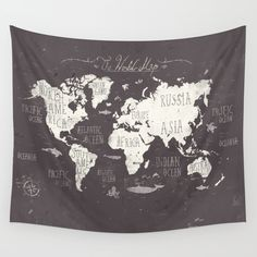 world, world map, map, vintage, retro, letters, typography, 'REPIN TO YOUR OWN INSPIRATION BOARD' All artworks are available with or without a frame, on Canvas boards, Wall Tapestry, Home decor such as Pillows, Duvet sets, Shower curtains etc, and fashion items like Bags, T-shirts, Leggings and Phonecases . Thanks for looking #homedecor #wallart