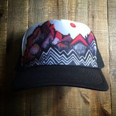 Abstract Mountain Hand Painted Trucker Hat by doubleblack on Etsy
