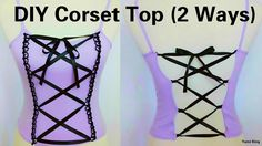 DIY Corset Top: 2 Ways to Transform Any Top Into Corset (Hand-sew) (Kawaii Diy Clothes) Diy Cut Shirts, Shirt Diy, Shirt Refashion, Diy Goth Clothes, Sewing Clothes, Men Clothes, Custom Clothes, Fashion Sewing, Diy Fashion