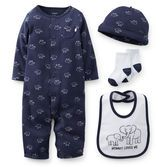 Everything you need for your newborn baby boy's first outfit is conveniently bundled in this sweet set. Sleep