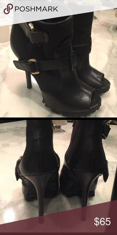 Tory Burch boots Peep toe booties! Super cute, only work once. Tory Burch Shoes Ankle Boots & Booties