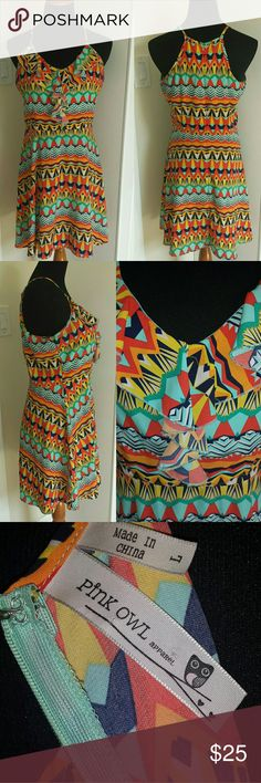 Festival Tribal Print Ruffle Bust A-Line Sundress Super sexy slinky and easy to wear dress with hidden back zipper and hook/eye closure. In excellent used condition. Feel free to make an offer! Dresses