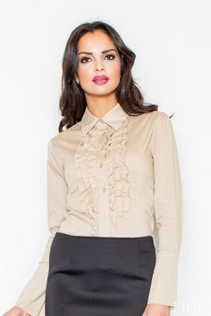 Ladies beige shirt with ruffles at the bust