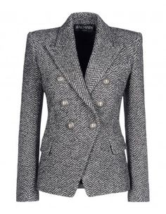 Balmain can do no wrong with blazers.loving this Herringbone Double-Breasted Blazer - Gray Blazer - ShopBAZAAR Tweed Blazer, Tweed Jacket, Gray Jacket, Only Blazer, Herringbone Blazer, Casual Outfits, Fashion Outfits, Casual Blazer, Womens Fashion