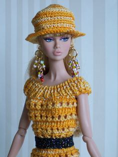 ooak hand knit dress and crocheted hat ~ Poppy is charming in them!