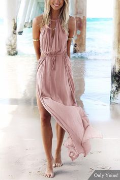 Make heads turn in this beach maxi dress. It is adorned with sleeveless, back lace-up, cut out and side split. Pair it with high heels. - Sleeveless design - Back lace-up - Splited hem - Regular fit - Hand wash - Main: 100% Polyester - Package Content: 1 * Dresses