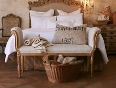 Here's a nice piece to have at the foot of your bed!   from ZsaZsa Bellagio: shabby chic