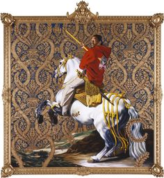 """Kehinde Wiley, """"Equestrian Portrait of the Count-Duke Olivares,"""" 2005, oil on canvas, 108"""" x 108"""""""