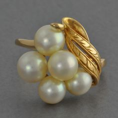 Vintage Mikimoto Pearl Cluster Ring