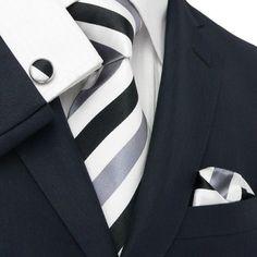 Black/Grey and White Stripe Necktie Set JPM30V – Toramon Necktie Company