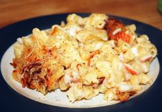 This imitation crab macaroni and cheese recipe is courtesy of Mid-Atlantic Dairy Associations staff member Stephanie (Beeman) Roscinski. Take your macaroni and cheese to the next level by adding imitation crab meat. Crab Pasta Recipes, Cheese Recipes, Seafood Recipes, Cooking Recipes, Dinner Recipes, Ramen Recipes, Copycat Recipes, Potato Recipes, Cooking Ideas