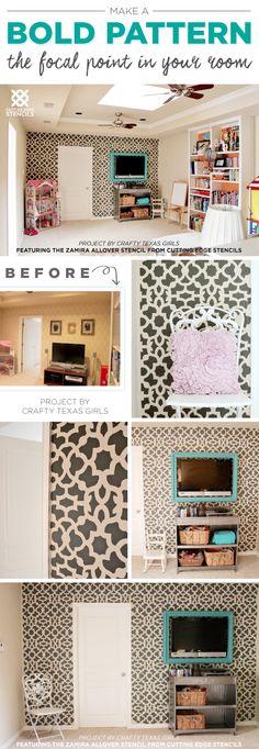 Cutting Edge Stencils shares a DIY stenciled accent wall in a playroom ...