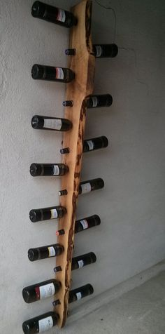 Rustic Wine Rack 16 Bottle Ladder - Rustic walnut