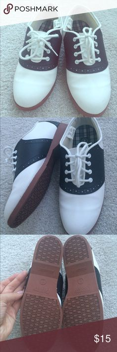 Coasters Saddle Oxfords faux leather by Payless Only worn ONCE for a couple of hours indoors. These are classic saddle oxfords in black and white from Payless. Comfortable and versatile. Really cute. Belonged to my mom but she ended up needing a different size. These do fit true to size, though. Coasters Shoes Flats & Loafers