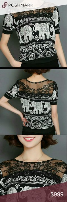 ⚠REDUCED ⚠   : Split Lace Printed Blouse Top This top looks much nicer in person, for work or semi formal evening wear! Gorgeous short sleeved lace split top with elephant print. Sleeve has lace detail too. Material: cotton, polyester,  spandex. Very little stretch. O- neck, short sleeve. Pls ignore the Asian tag sizes as they run extremely small.  USA sizes are listed. Bust/  length / Shoulder/ Sleeve  M (8/10): 38 / 24 / 16 / 8 inches L (12/14): 40 / 24 / 16/ 9 inches XL (16): 41 / 24 / 17…