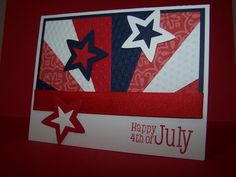 handmade 4th of July card: Star Spangled Sunburst by sixclarks ... red, white and blue ... like the texture on the non-patterned papers in the satr burst ... die cut stars with center fills ... great card!!