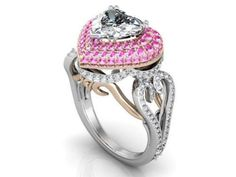 A Museum Perfect 1.8CT Heart Cut Russian Lab Diamond Pink Sapphire Engagement Promise Wedding Ring