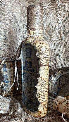 """Купить """"Послание в бутылке"""" бутылка. Обратный декупаж. Комплект - водка, бутылка, бутылка декупаж Wine Bottle Art, Painted Wine Bottles, Potion Bottle, Diy Bottle, Wine Bottle Crafts, Bottle Vase, Bottles And Jars, Jar Crafts, Glass Bottles"""