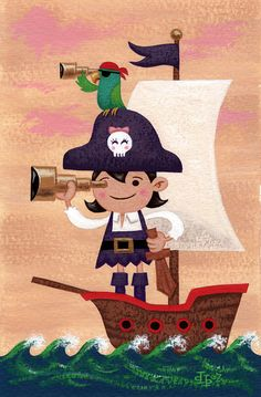 """""""Pirate Girl"""" x cel vinyl acrylic on watercolor paper NFS Pirate Theme, Pirate Party, Painting For Kids, Art For Kids, Pirate Illustration, The Pirates, Pirate Treasure Maps, Pirate Kids, Cute Cartoon Drawings"""