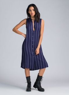 7aa082d22d2 Business Time Pinstriped Dress NAVY - GoJane.com Club Dresses