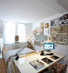 tiny but functional bedroom with desk. Photo by BURMESTER PHOTOGRAPHY Interior Architecture & Styling UTE GÜNTHER
