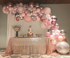 Pink Mauve Rose Gold And Silver Balloon Garland For A 40th Birthday Stylish