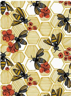 Honey Bee Hexagon by tiffanyheiger - Hand drawn honey bees on fabric, wallpaper, and gift wrap. Geometric honey pods in vintage tones with orange flowers. wallpaper Colorful fabrics digitally printed by Spoonflower - Honey Bee Hexagon Large Phone Backgrounds, Wallpaper Backgrounds, Iphone Wallpaper, Trendy Wallpaper, Geometric Wallpaper, Colorful Wallpaper, Geometric Prints, Geometric Flower, Graphic Prints