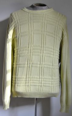 Authentic Men's Size XX-Large Jos A Bank Sweater 100% Cotton Yellow Long Sleeve