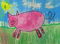 How to Draw a Pig Lesson from Deep Space Sparkle (with oil pastels & watercolors)