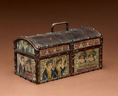Dome-top box with inset watercolor panels, attributed to Emeline M.  Robinson Kelley School, Portsmouth, N.H., ca.  1824-1833.  White pine, leather, brass-headed tacks, watercolor and ink on paper panels under glass, brass wire hinges.  3 7/8 x 7 7/8 x 4 1/8 inches.