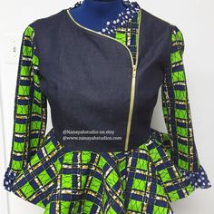 A beautiful and one-of-a-kind African Print Fine Tencel Denim Chiffon Asymmetrical Peplum with Zipper Detail Closure. A must have for every lady's wardrobe. A Transitional piece for all seasons exclusively designed and made by NanayahStudio. African Fashion Ankara, Ghanaian Fashion, Latest African Fashion Dresses, African Dresses For Women, African Print Dresses, African Print Fashion, Africa Fashion, African Attire, African Wear