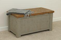 Clermont Painted Rough Sawn Oak Blanket Box   Oak Furniture Land