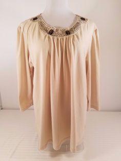 Crystal Kobe Womens Jewel Trim Tan Scoop Neck 3/4 Sleeves Top Size XXL #CrystalKobe #KnitTop