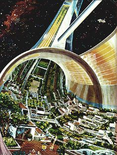 Inside a Space Habitat - The Future of Human Evolution Futuristic City, Futuristic Architecture, Stargate, Cyberpunk, Science Fiction Kunst, Syd Mead, Space City, Art Graphique, Future City