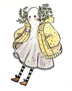 lanylevendula: Little Ghostie in a Raincoat - Cutest Death Witch Around Arte Do Kawaii, Posca Art, Illustration Art, Illustrations, Arte Sketchbook, Cute Art Styles, Pretty Art, Character Design Inspiration, Aesthetic Art