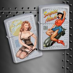 Celebrate 100 years of Nose art with the Surprise Attack and Night Mission Pin-up Zippo lighters! Which is your favorite?