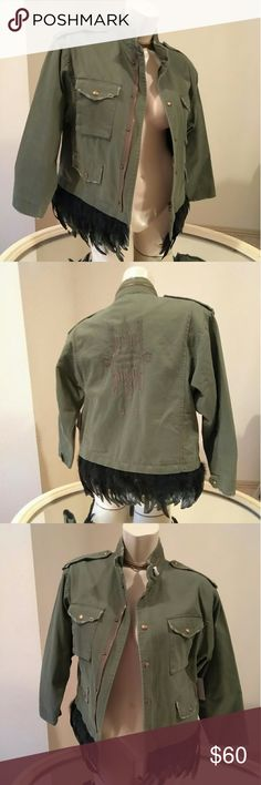 Feathered military style jacket All purchase is shipped with a gift.  Great condition Bust 42  Fits size 6-12   Feathered, ripped, zippers, military & chic  Checkout other listings Zara Jackets & Coats