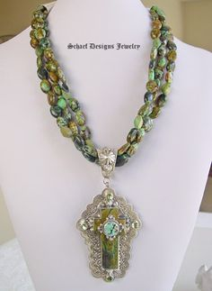 Turquoise & Peridot Capistrano Cross  pendant on African turquoise necklace | Schaef Designs